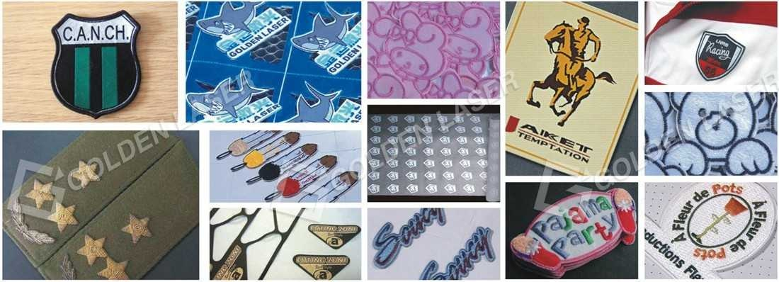 laser cutting woven labels, embroidery labels